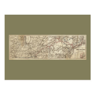 エリーの鉄道(1869年)の地図 ポストカード
