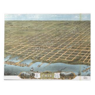 エリーペンシルバニア1870年鳥瞰的な眺めの市 ノートパッド