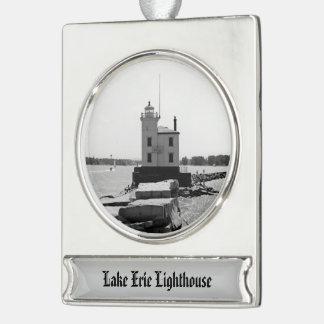エリー湖の灯台 シルバープレートバナーオーナメント