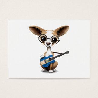 エルサルバドルのギターを演奏しているチワワの小犬 名刺