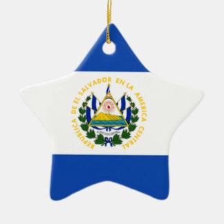 エルサルバドルの国民の紋章付き外衣の旗 セラミックオーナメント