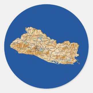 エルサルバドルの地図のステッカー ラウンドシール