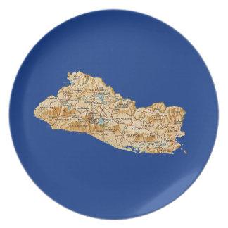 エルサルバドルの地図のプレート プレート