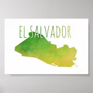 エルサルバドルの地図 ポスター