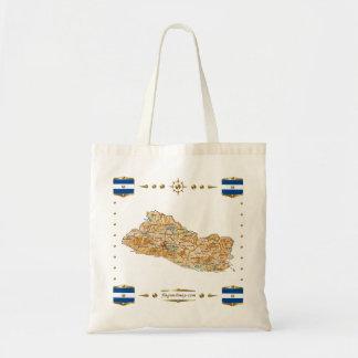 エルサルバドルの地図 + 旗のバッグ トートバッグ