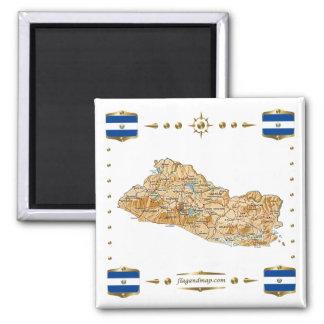 エルサルバドルの地図 + 旗の磁石 マグネット