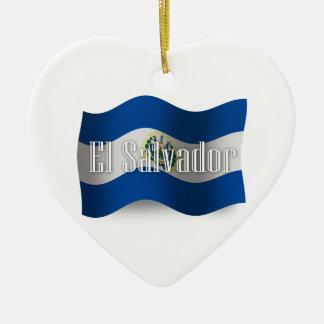 エルサルバドルの振る旗 セラミックオーナメント
