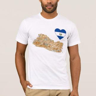 エルサルバドルの旗のハートおよび地図のTシャツ Tシャツ
