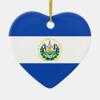エルサルバドルの旗のハートのオーナメント セラミックオーナメント
