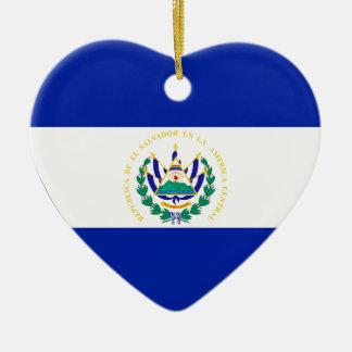 エルサルバドルの旗のハート セラミックオーナメント