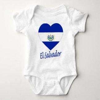 エルサルバドルの旗のハート ベビーボディスーツ