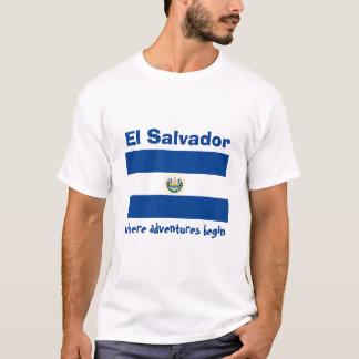エルサルバドルの旗 + 地図 + 文字のTシャツ Tシャツ