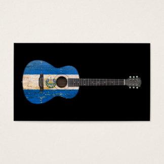エルサルバドルの老化させ、擦り切れたな旗のアコースティックギター、bl 名刺
