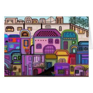 エルサレムのタペストリーのRosh Hashanahカード カード
