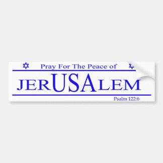 エルサレムのバンパーステッカーの平和のために祈って下さい バンパーステッカー