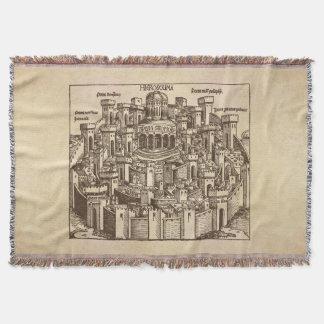 エルサレムの中世木版画 スローブランケット