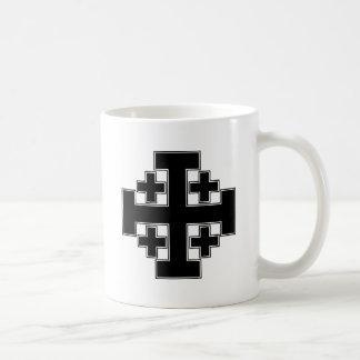 エルサレム十字の黒 コーヒーマグカップ