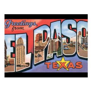 エルパソTexas_Vintage旅行ポスターからの挨拶 ポストカード