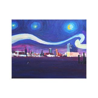 エルベ川交響楽団のHalが付いているハンブルクの星明かりの夜 キャンバスプリント