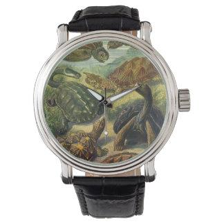 エルンスト・ヘッケル著ヴィンテージのウミガメの土地のカメ 腕時計