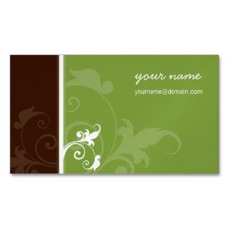 エレガントでオーガニックでシンプルな群葉の気迫の茶色の緑 マグネット名刺 (25枚パック)
