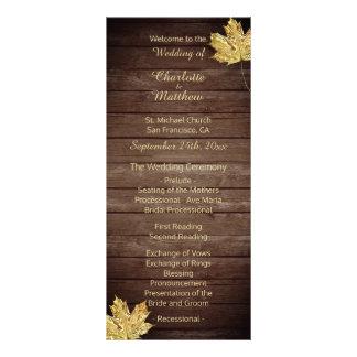 エレガントでカスタムで素朴なカエデの葉の結婚式プログラム ラックカード