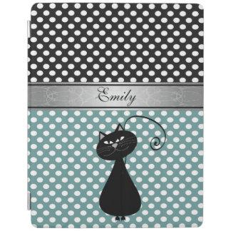 エレガントでガーリーで粋な水玉模様の黒猫のモノグラム iPadスマートカバー