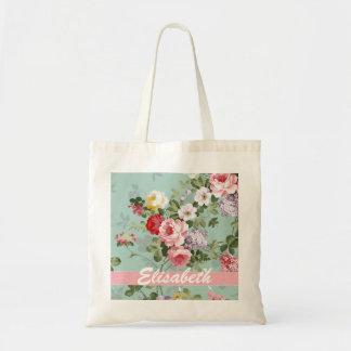 エレガントでガーリーなピンクの赤いバラのモノグラム トートバッグ