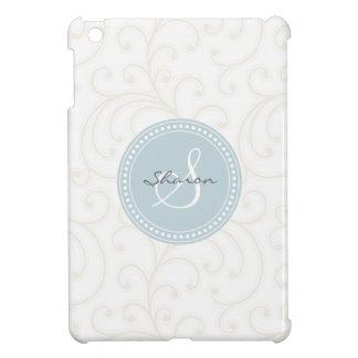エレガントでガーリーなベージュ白い花パターンモノグラム iPad MINIケース