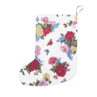 エレガントでガーリーなヴィンテージのバラの花柄の蝶 スモールクリスマスストッキング