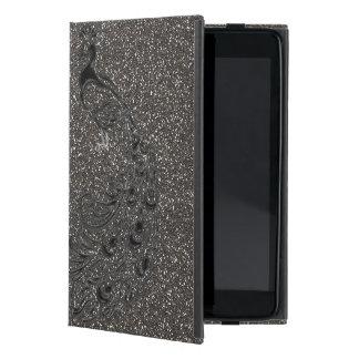 エレガントでガーリーな灰色のグリッターの黒の孔雀のiPadの箱 iPad Mini ケース