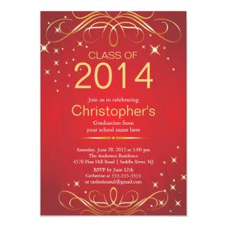 エレガントでクラシックな金ゴールドの卒業のパーティの招待状 カード