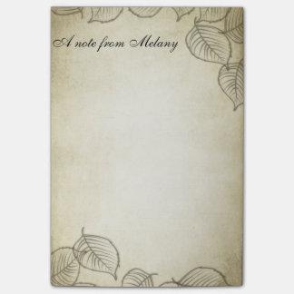 エレガントでシックでコンテンポラリーな葉のヴィンテージ ポスト・イット®ノート