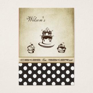 エレガントでシックなケーキ及びパン屋のヴィンテージの水玉模様 チャビ―名刺