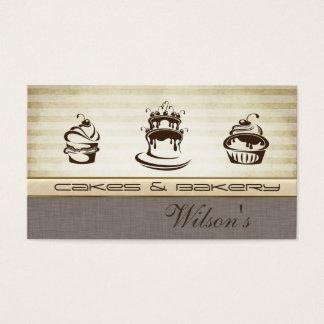 エレガントでシックなケーキ及びパン屋のヴィンテージ 名刺