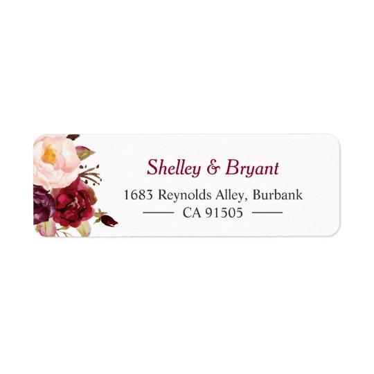 エレガントでシックなMarsalaバーガンディの赤い秋の花柄 返信用宛名ラベル