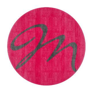 エレガントでシンプルでモダンでシックで粋なモノグラムのピンク カッティングボード