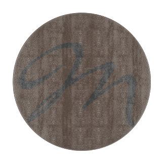 エレガントでシンプルでモダンでシックで粋なモノグラムの灰色 カッティングボード