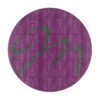 エレガントでシンプルでモダンでシックで粋なモノグラムの紫色 カッティングボード