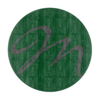 エレガントでシンプルでモダンでシックで粋なモノグラムの緑 カッティングボード
