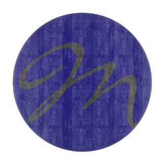 エレガントでシンプルでモダンでシックで粋なモノグラムの青 カッティングボード