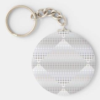 エレガントでスタイリッシュで模造のな銀製の水玉模様パターン キーホルダー