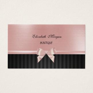 エレガントでスタイリッシュな贅沢、ストライプのな、ピンクのリボンの弓 名刺