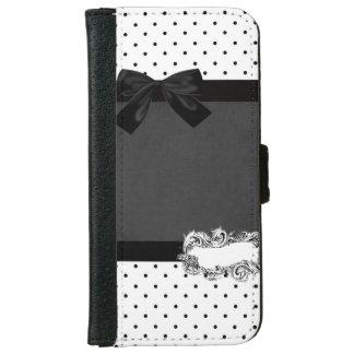エレガントでスタイリッシュな黒く、白いポルカの点黒い弓 iPhone 6/6S ウォレットケース