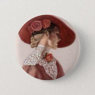 エレガントでビクトリアンな女性ファインアートヴィンテージのばら色の帽子 5.7CM 丸型バッジ