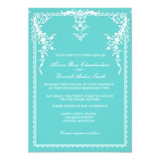エレガントでフォーマルな結婚式招待状、tiffany青 カード