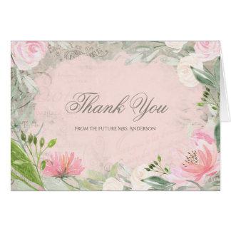 エレガントでフランスのなピンクの花のブライダルシャワーは感謝していしています カード