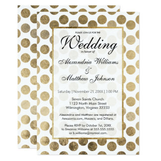 エレガントでモダンで白く模造のな金ゴールドの点の結婚 カード