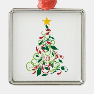 エレガントでモダンなクリスマスツリーの絵 メタルオーナメント