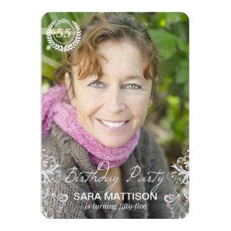 エレガントでモダンなシダの写真の誕生日の招待状 カード